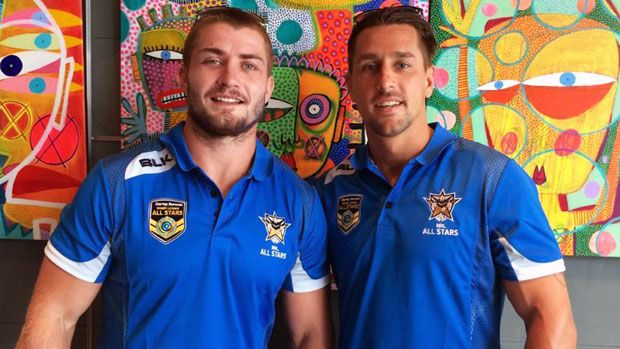 Former schoolmates Mitchell Pearce and Kieran Foran will play together for the first time in nine years for the NRL All Stars on Friday night.