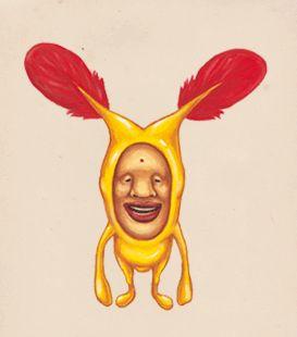 コビト網 幸運目 双触頭科 アカバネ属  ホトケアカバネ  ●体長 約25cm(トウチンは含まない)  ●生息地 不明  ●特徴   ・ 空を飛ぶことができる  ・ ハトといっしょに行動することが多い  ・ 「目撃すると幸せになれる」といわれている  ●食べ物 ハトのえさが大好物