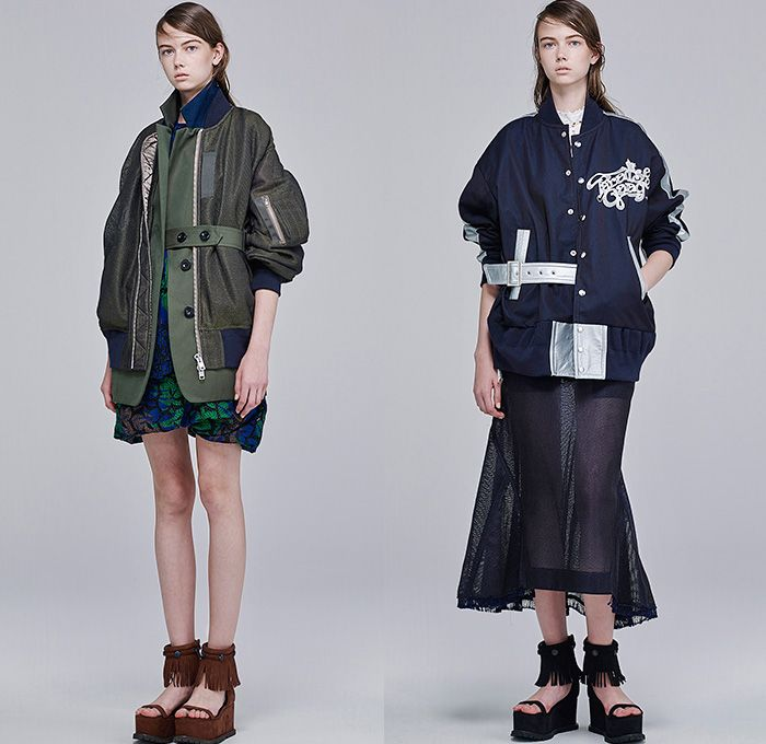 Sacai by Chitose Abe 2016 Resort Cruise Pre-Spring Womens Lookbook Presentation - Denim Jeans Wide Leg Trousers Palazzo Pants Culottes Gauchos Shorts Blouse Panels Mix Match Mesh Lace Lasercut Stars Cross Oversized Outerwear Coat Parka Hoodie Layers Drawstring Fringes Waffle Quilted Peacoat Bomber Jacket Knit Straps Cargo Pockets Fringes Leaves Foliage Tiered Raw Hem Frayed Stripes Shirtdress
