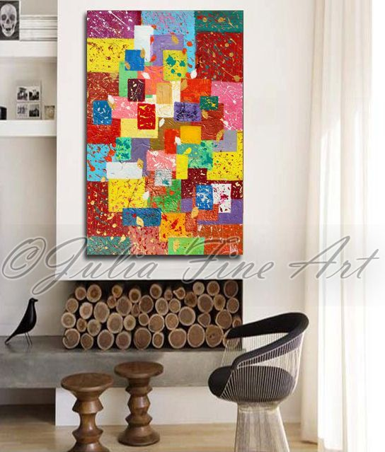 Large ORIGINAL Abstract Rich Texture Painting, Ready to hang, by Julia Apostolova