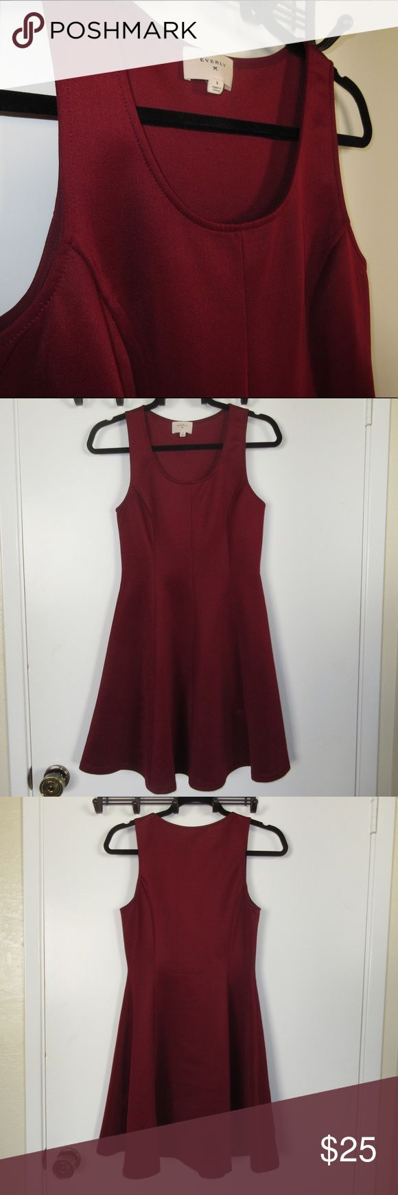 Everly Skater Dress Gorgeous maroon skater dress from Everly. Originally purchased at Nordstrom and worn only once. This shiny maroon dress would be perfect for the holiday season!! Everly Dresses