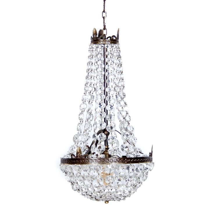 Vintage Italian Hollywood Regency Crystal Basket Chandelier