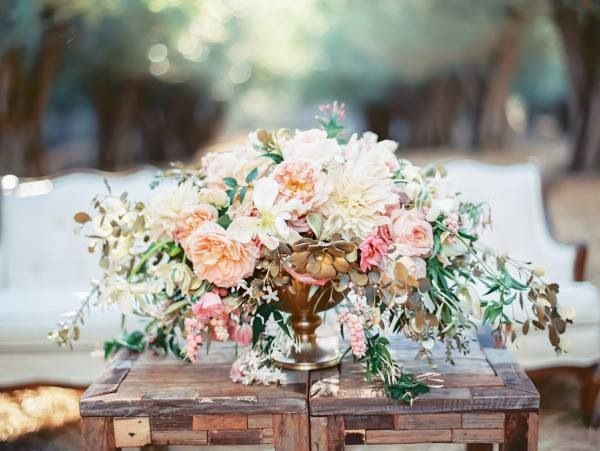 The Lounge Coffee Table Will Have A Gold Compote Vase Spilling With Cream Hydrangeas Blush