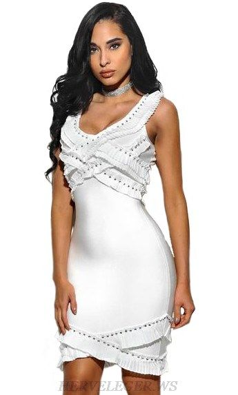 3241bbb3 Herve Leger White Studded Ruffle Dress | Herve Leger Sale | Dresses ...