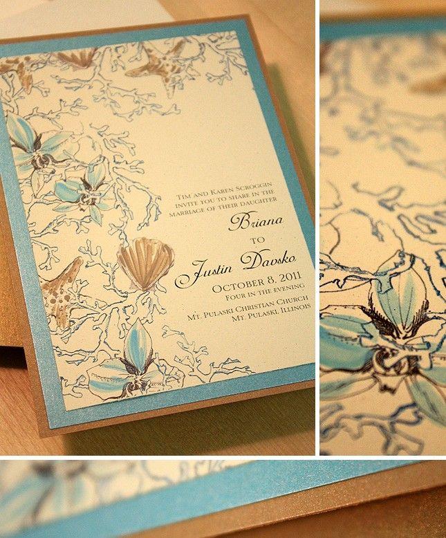 wedding renewal invitation ideas%0A Soft Brown and Aqua Ocean Inspired Hand Painted Wedding Invitation