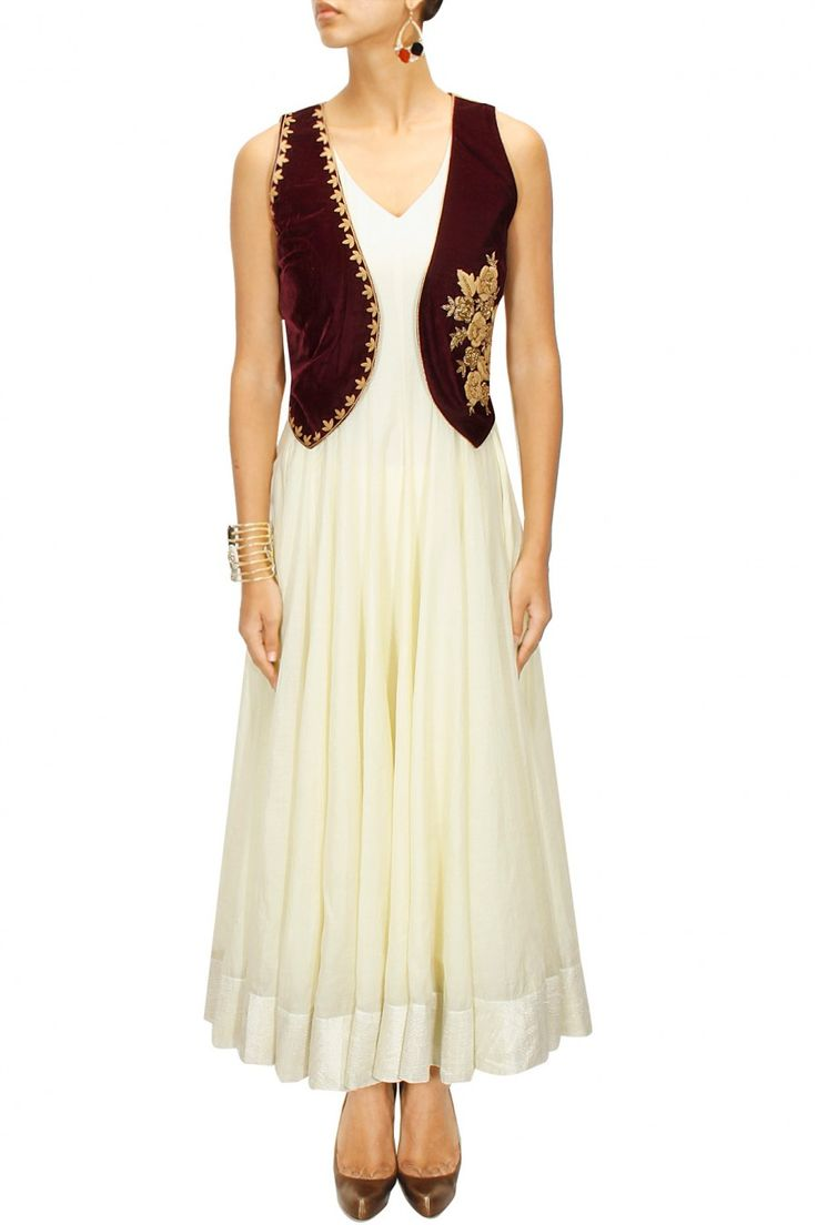 Wine floral embroidered waist coat available only at Pernia's Pop-Up Shop.