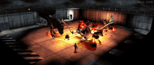 Tyrannosaurus Rex attacks and destroys the extraction helicopter.    Dino Crisis (1999) PSX - Survival Horror Games