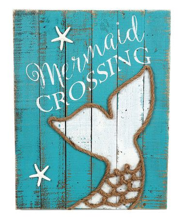 Look what I found on #zulily! 'Mermaid Crossing' Wood Block Sign #zulilyfinds