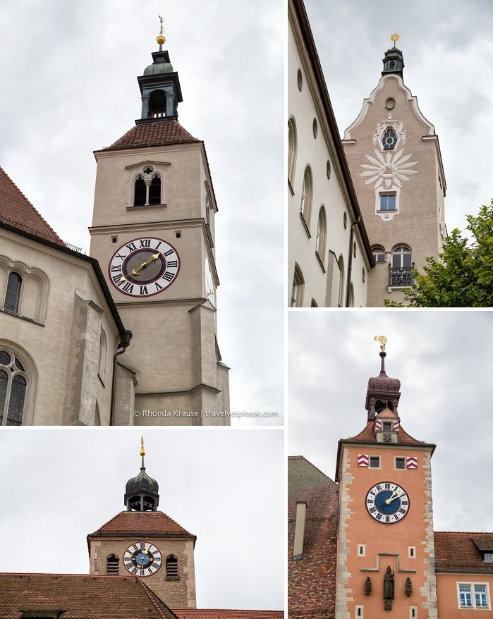 Towers and clocks in Regensburg, Germany