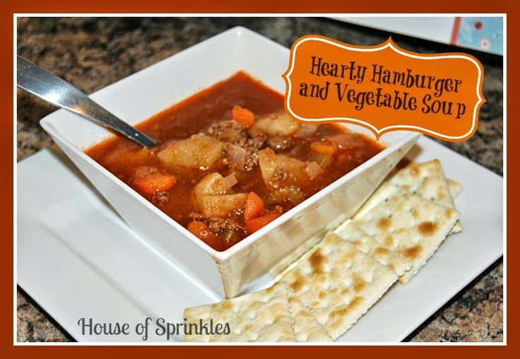 Hearty Hamburger and Vegetable Soup recipe. So tasty! | House of Sprinkles www.houseofsprinkles.com: Food Recipes, Vegetable Soups, Dinner Recipes, Recipes Soup, House, Soup Recipes, Family Recipes, Fav Recipes, Hearty Hamburger