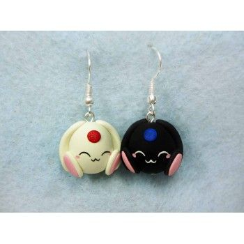 Mokona,fimo, handmade,hecho a mano,polymer clay,earrings,pendientes,anime,manga,clamp,