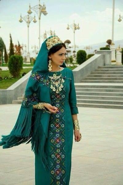 Turkmen woman in her turkmen traditional dress
