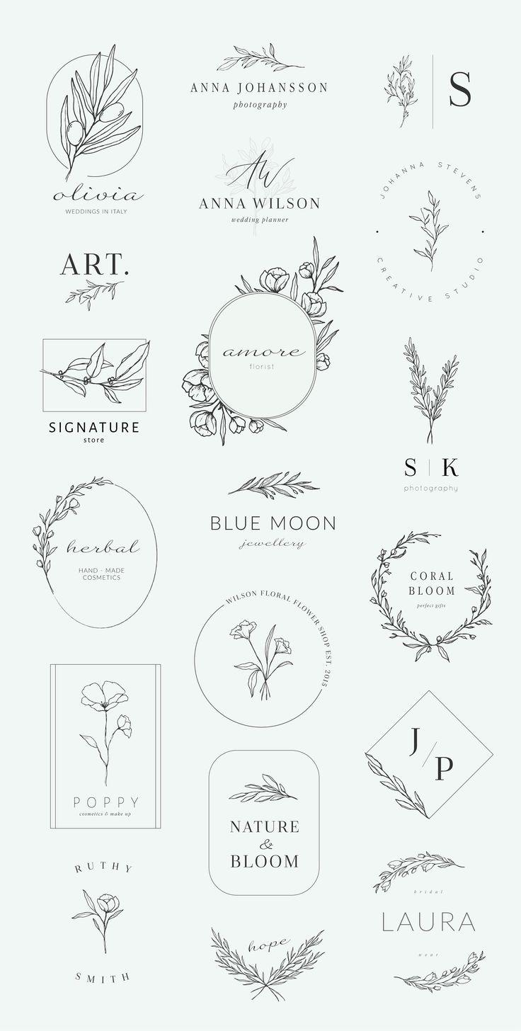 Botanical logos & illustrations by Crocus Paperi on Creative Market