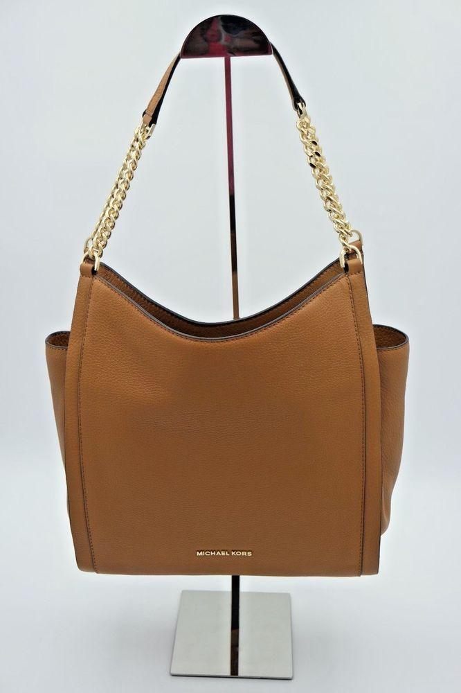 4b49eb3170dbd8 NWT MICHAEL Michael Kors Newbury Brown Leather Chain Shoulder Bag Tote New # MichaelKors #ShoulderBag
