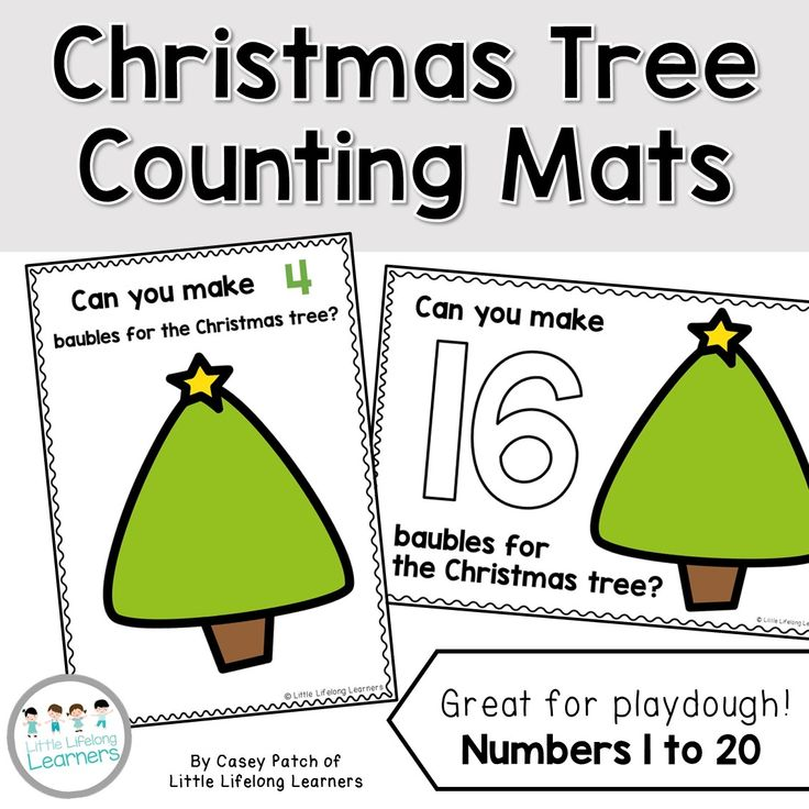 Christmas Tree Counting Mats for Playdough | review numbers 1 to 20 | maths center for the end of the year | numeracy game | playdoh table