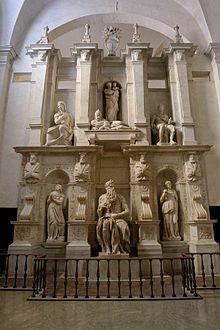 Moisés rodeado de Raquel y Lea, de Miguel Ángel. Iglesia San Pedro in Vincoli, Roma.