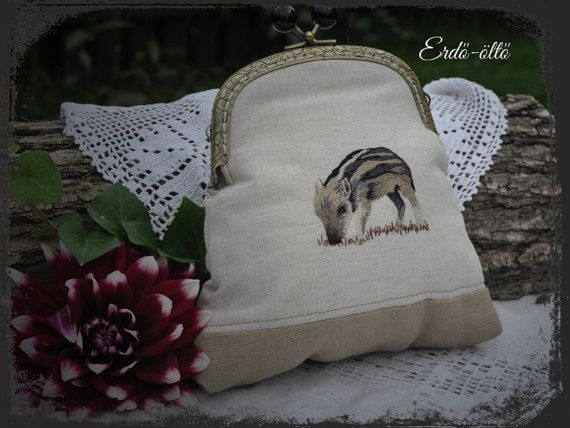 Purse with a hand-embroidered wild boar on by NeedleNatureDesign