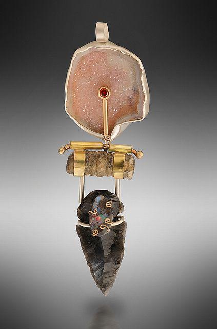 Pin. Drusy, garnet, crinoid fossil, arrowhead, Boulder opal, 14KY, sterling. $1400. | Flickr | Lisa Ben-Zeev