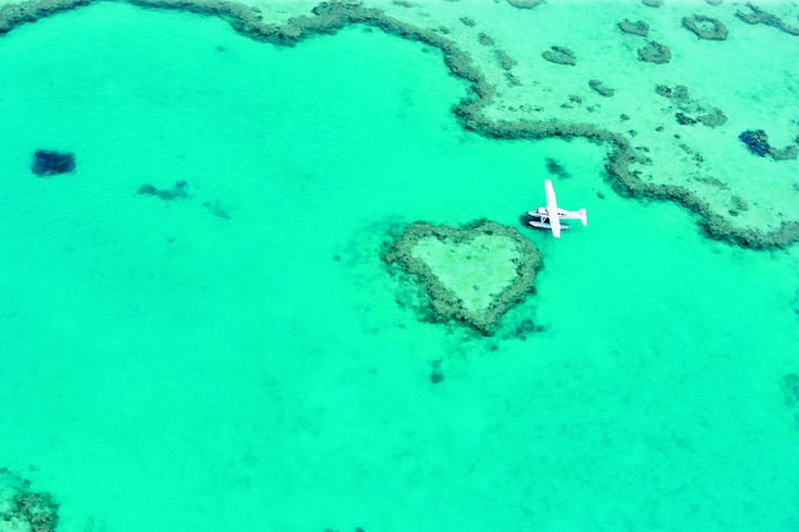 Seaplane on Heart Reef. My daughter would LOVE to see this from the air!! #Queensland #Australia #Travel