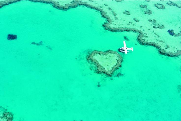 Seaplane on Heart Reef. Photo: Tourism Queensland. #HeartReef #Whitsundays #GreatBarrierReef #Queensland #Australia #TravelHeartreef Whitsundays