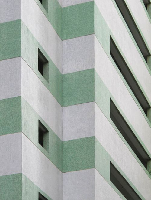 green striped building