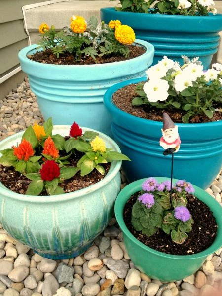 I highly recommend Rustoleum Plastic Primer since the spray paint made for plastic comes in a limited amount of colors. I painted the pots a ...