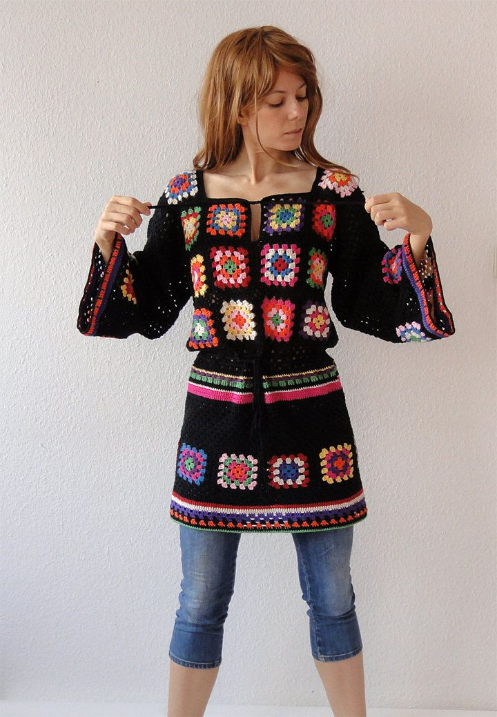 Crochet Granny Square Tunic Pattern : Crochet dress tunic hippie jumper sweater cardigan ...