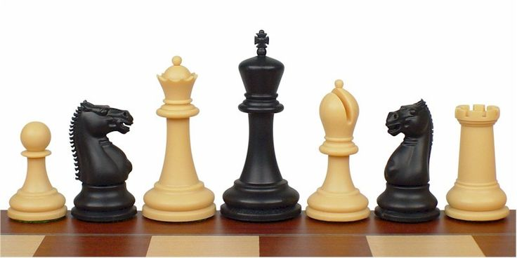 "Zukert Plastic Chess Set Black & Camel Pieces - 4.25"" King - The Chess Store"