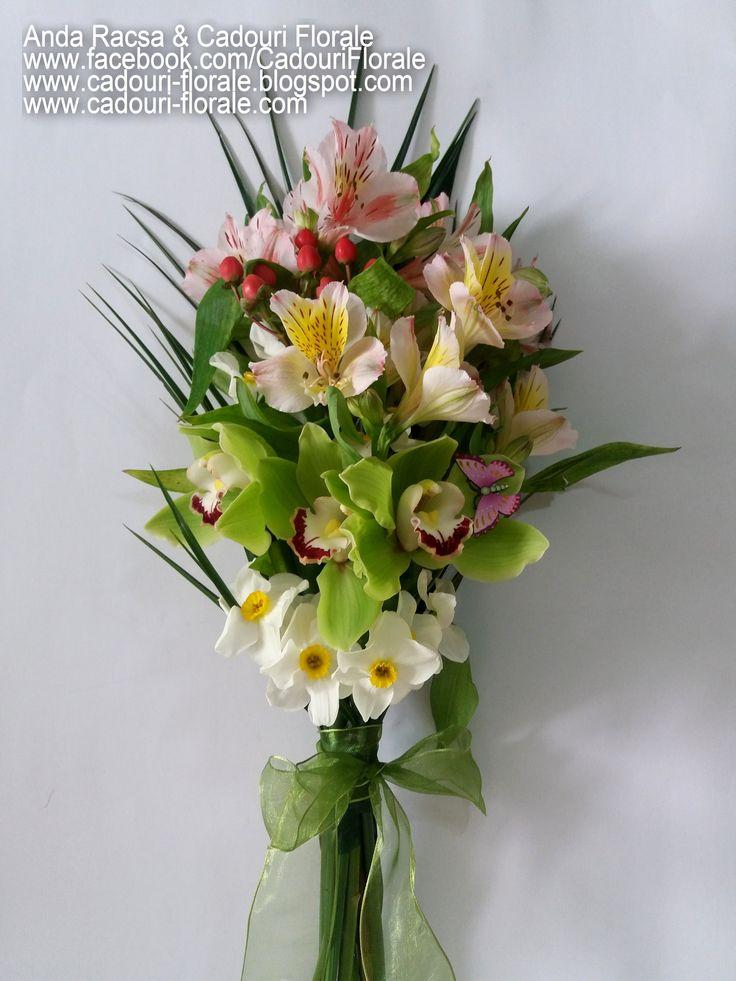 Buchet de flori, cu orhidee si alstroemedia! www.cadouri-florale.com, cadouri.florale@gmail.com