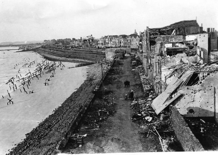 Flushing 1944/ Beach front at Flushing showing the damage done by the pre-invasion bombardment.