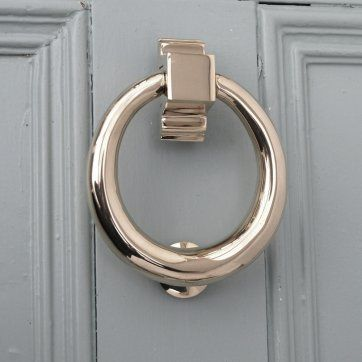 Polished Nickel Hoop Door Knocker Knocker  A simple yet stylish hoop (or 'ring') nickel plated door knocker in a traditional design that works wonderfully well on both contemporary and traditional doors.