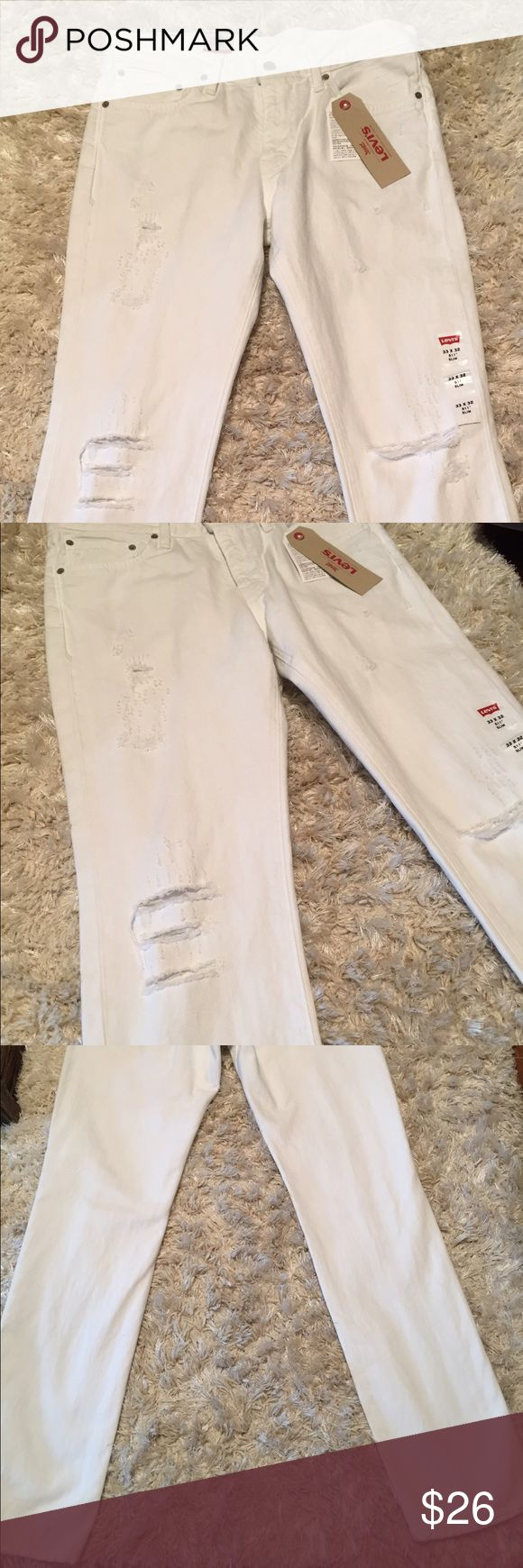 Levi's 511 White Destroyed Slim Jeans NWT Men's Levi's 511 Distressed White Slim Jeans. New with tags from smoke free home. Sits below waist. Slim from hip to ankle. Great jeans for Spring/Summer. On trend.33 x 32. levis Jeans Slim