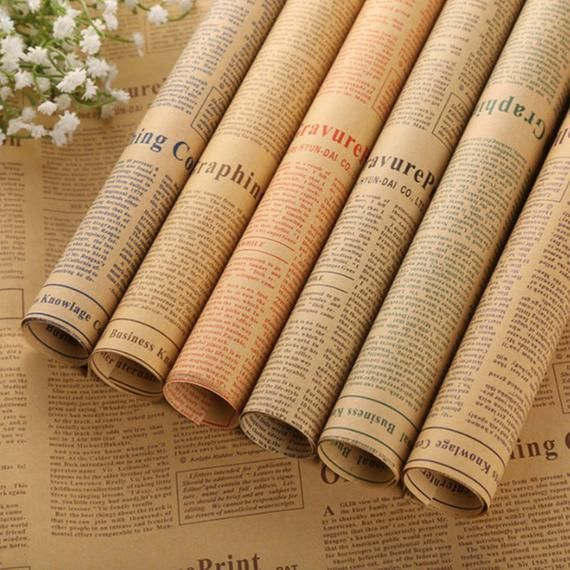 10 Pcs Lot Gift Wrapping Paper Roll Vintage Newspaper Double Sided Wrap Decor Art Kraft For Christ Paper Gifts Christmas Gift Wrapping Paper Newspaper Wrapping