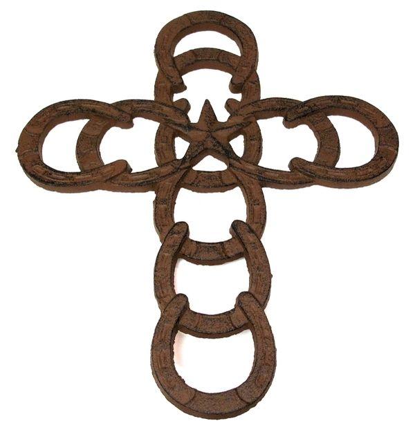 cast iron horse shoe cross