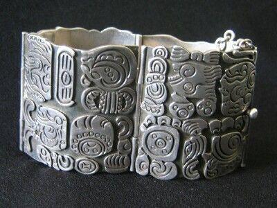 Azteca jewelry - Los Ballesteros sterling silver bracelet, 1950s
