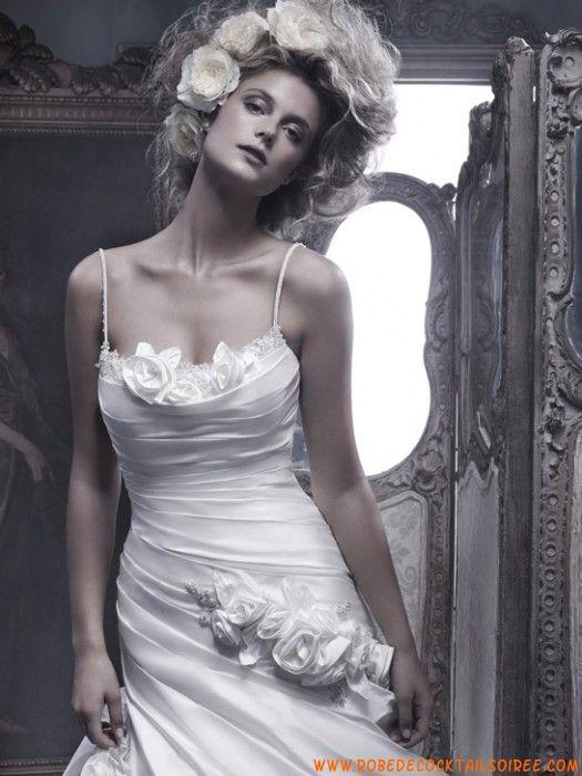 Robe originale 2013 magnifique blanche drapé fleurs robe de mariée taffetas