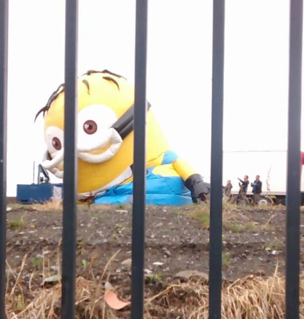 BoredPanda - Before the accident, the 33-ft Minion was spotted being inflated behind bars