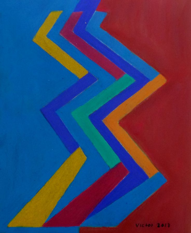 Abstrakt 295, pastell. Abstract 295, pastel.