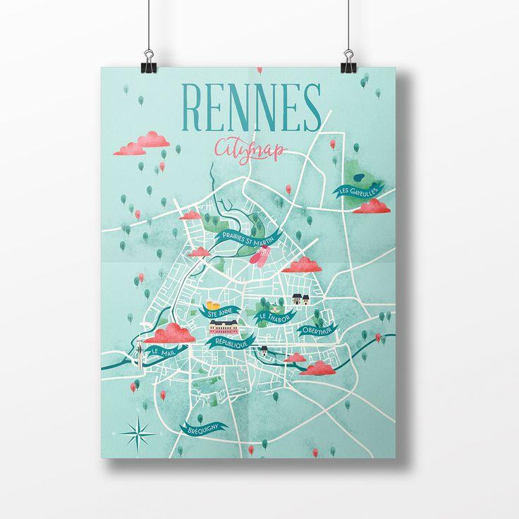 #Map #Rennes #City #Illustration #Graphic
