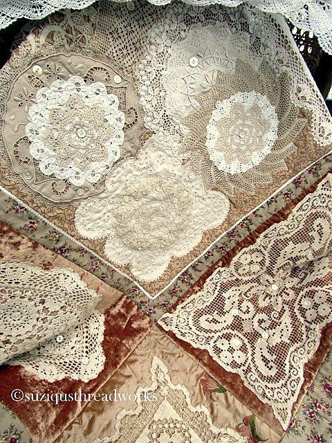 Velvet and doily quilt, made using vintage textiles & buttons - via Suziqus Threadworks