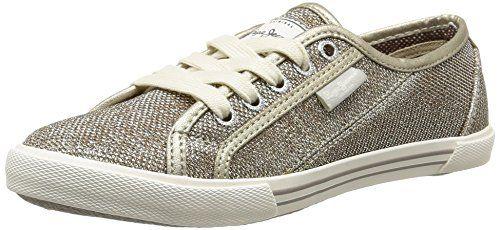 Pepe Jeans London ABERLADY LUREX, Damen Sneakers, Gold (029GOLDEN), 36 EU - http://herrentaschenkaufen.de/pepe-jeans/pepe-jeans-london-aberlady-lurex-damen-sneakers