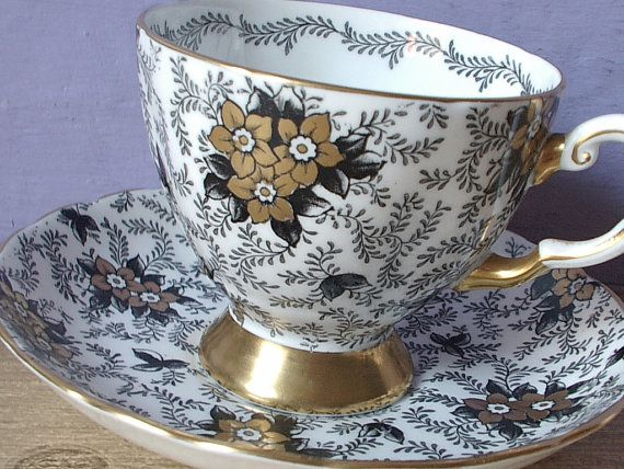 Antique black and gold tea cup set, Tuscan English tea set, gold flowers bone china tea cup and saucer, black and white tea cup