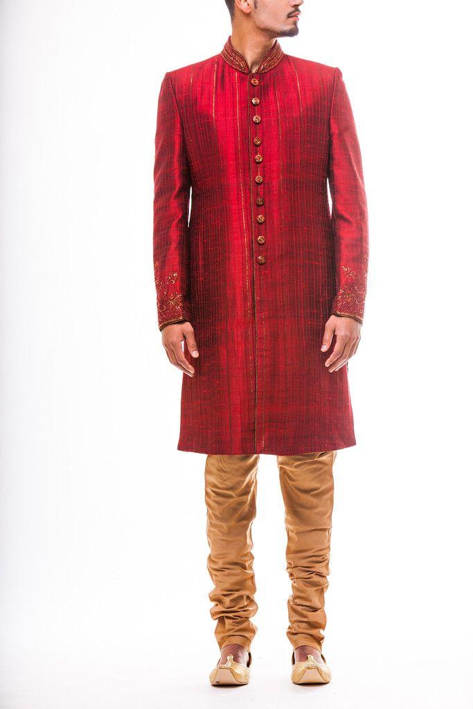 Maroon Silk Sherwani with Resham work