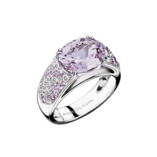 Plaisir d'Amour Ring  Plaisir d'Amour ring, 18Kt white gold, Rose de France (3,6 ct), light amethysts and diamond pavé