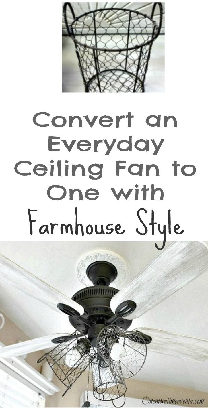 Upcycle a ceiling fan into a modern farmhouse light fixture with a garbage can.