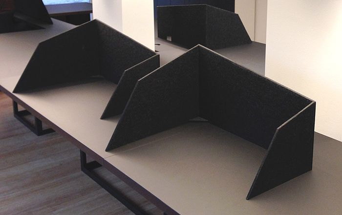 Moveable felt screens to cover any position on the big table