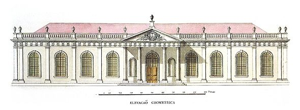 "Fachada do Laboratorio Chimico, desenho da G. Elsden e R. F. de Almeida, 1777 in Franco, M.S. ""Riscos das Obras da Universidade de Coimbra"", Museu Nacional Machado de Castro, Coimbra, 1983."