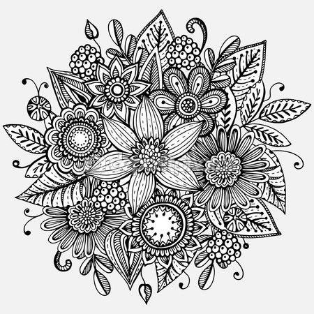 Ilustración de vector con ramo de flores dibujadas a mano — Vector de stock