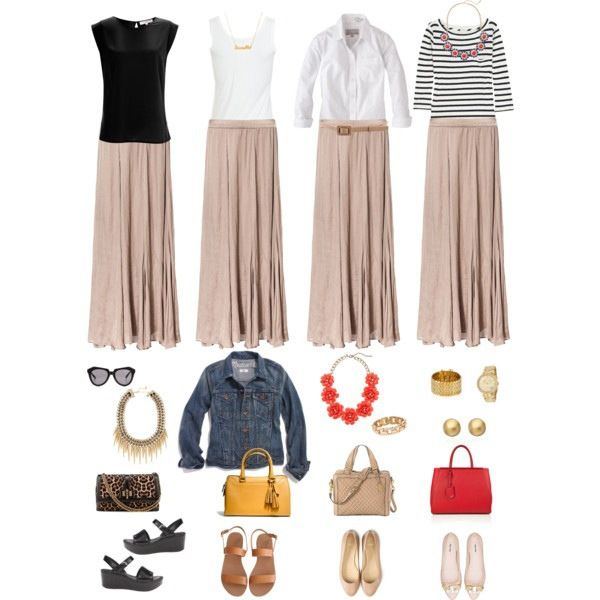 One Key Wardrobe Piece Styled Four Ways: Tan/Nude Maxi Skirt