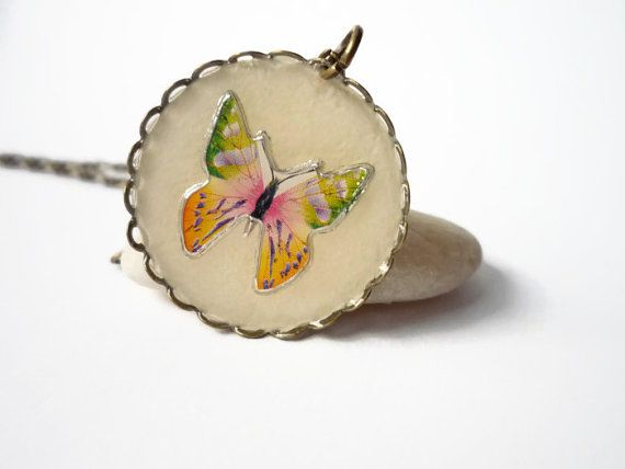 Butterfly necklace with lace edge, romantic antique brass, resin pendant by treasurecreator, $15.00